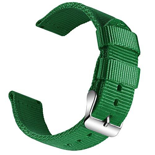 OLLREAR Nylon Uhrenarmband Leinwand Armbanduhr Militär Armee Uhrenband - 13 Colors & 4 Sizes - 18mm, 20mm, 22mm, 24mm (18mm, Green)