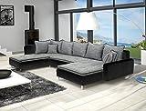 Canapé d'angle panoramique en U DANTE gris et noir