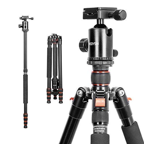 HEOYSN Fotostativ 164cm/64.57in, Tragbare mit 360° Kugelkopf aus Hochwertigen Aluminiumlegierungen. Leichtgewichtiges Stativ. Kompatibel mit Canon/Nikon/Olympus/Pentax DSLR-/ Allen Kameras (orange)