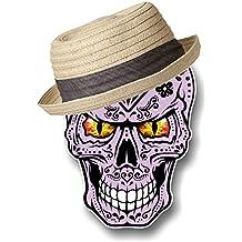 Rosa Gótico diseño de morado rosa coloured mexicano Azúcar diseño de calavera con Hipster sombrero con el mal ojos, vinilo adhesivo coche 118x 85mm