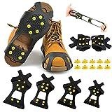 Lintimes 10Acier Clous Ice Crampons Glace & Neige Grips sur Chaussures/bottes Traction Taquet en caoutchouc Pointes anti glisse facile sur les S, M