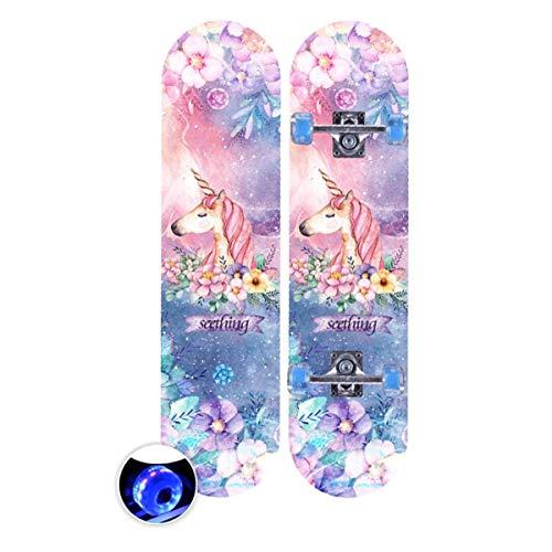 rd Komplett Longboard Double Kick Skateboard Cruiser 8 Lagen Ahorn Deck für Extremsport und Outdoor, 4,72cm ()