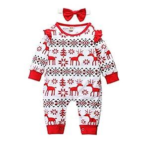 Mono Infantil Conjunto Invierno Bebé cálido Niños niñas Mameluco de Ciervo de Dibujos Animados de Navidad Conjuntos de… 6