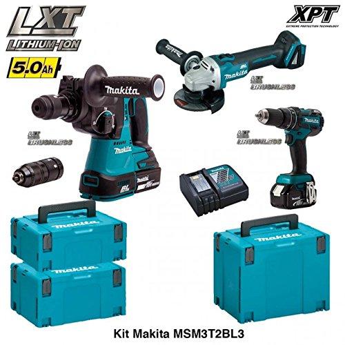"Preisvergleich Produktbild MAKITA Kit MSM3T2BL3 18V (DHR243 + DGA504 + DHP480 + 2 x 5,0 Ah + DC18RC + MAKPAC 2 + MAKPAC 3 + MAKPAC 4) ""Brushless"""