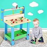Infantastic Kinderwerkbank (59,5 x 49 x 30,2 cm) mit Werkzeug Zubehör ohne scharfe Ecken und Kanten | Spielzeugwerkbank Kinder Werkbank