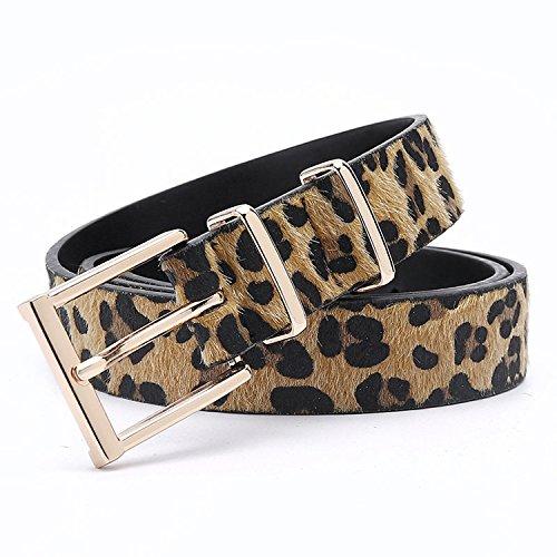 Damen Gürtel Gürtel Frauen Rosshaar Gürtel mit Leopard Muster Rose Gold Metall Schnalle Frauen Pu Gürtel 125 Cm