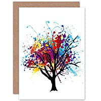 Wee Blue Coo Paint Splat Abstract Tree - Blank Greetings Card