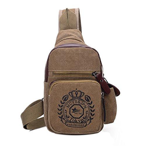 Genda 2Archer Canvas Shoulder Schultertasche Cross Body Bag Freizeit Tasche (Blau) Kaffee
