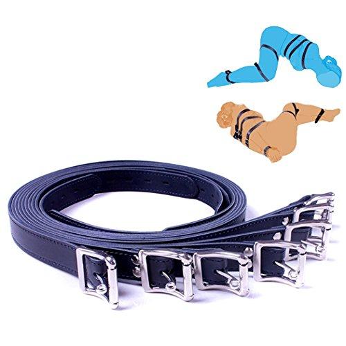 SXOVO 7 Stück SM Sex Bondage Sets Einstellbar Leder Seile Handschellen Fußfesseln mit Schlüsselloch Restraint System (Schwarz x 7)