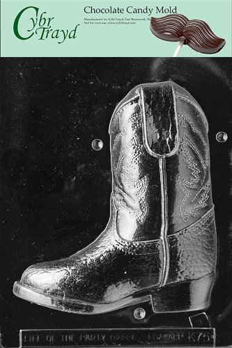 Cybrtrayd K075B 3D Cowboy Boot (Side 2 ONLY) Chocolate Candy Mold with Exclusive Cybrtrayd Copyrighted 3D Chocolate Molding Instructions by CybrTrayd (Mold Boot Candy)