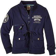 National Geographic Sweatshirt Girl RGSW-045 Pockets - Sudadera para niña, color azul, talla XS