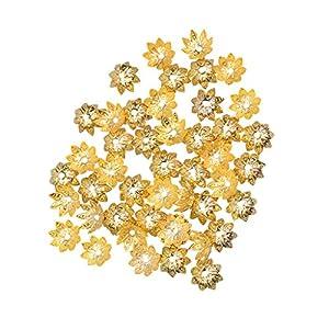 100 Stücke 9,5 Mm Blumen Perlenkappen für DIY Kleidung Kleid Dekorationen Gold Farbig