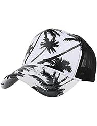 Casquette de baseball, Tianya Filtre Femme Homme de noix de coco Arbre d'impression de baseball Caps en maille Splicing Hip Hop Chapeau de soleil d'été