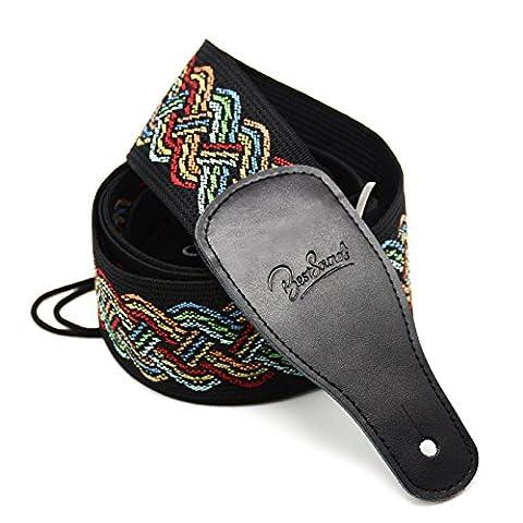 Bestsounds Sangle de guitare, 6cm réglable Hootenanny Style Coton Tissé Sangle de guitare électrique tressé avec cravate, cuir véritable Extrémités pour basse Guitar and Bass Strap-A