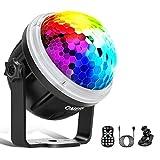 Omeril Led-discobol met sterrenpatroon, 10 kleuren, RGBY muziekgestuurd, 4 m, USB disco lichteffecten, 360 graden draaibaar, met afstandsbediening, voor Kerstmis, party, kinderen