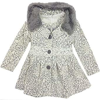 Luxurious Thick & Heavy Long Sleeve Woven Girls Coat Kids Jacket Light Grey 5 Years (XX-Large)