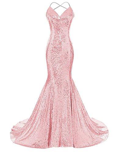 BeiQianE V-Neck Meerjungfrau Langes Kleid Sparkly Pailletten Backless Formale...