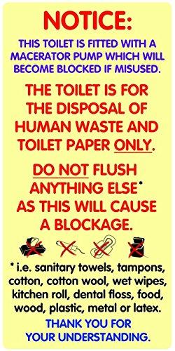 Paar wasserfestem Warnung Aufkleber Schilder für Zerkleinerer Toiletten. Passt Saniflo. -