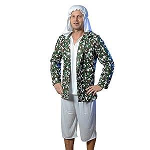 El celibato 97185542.503L - Hombres Terrorista traje - traje del partido 3 piezas - L (52/54), blanco/camuflaje