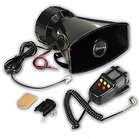 Zento Deals 80W de voiture Corne de sirène avec micro Haut-parleur PA Système d'urgence son Amplifier-5Tons