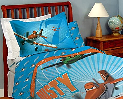Disney Planes en microfibre de lit – Simple/double [Bleu] enfants confortable Parure de lit de 167,6 x 243,8 cm