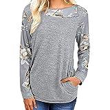 Manadlian Damen Pullover Frauen Lässig Blumendruck Langarm Pullover Bluse Hemden Herbst Winter Sweatshirt
