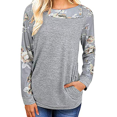 8f41fe8cf6 Moginp Fashion Womens Shirt Casual Floral Print Long Sleeve Blouse T-Shirt  Ladies Sweatshirt Pullover