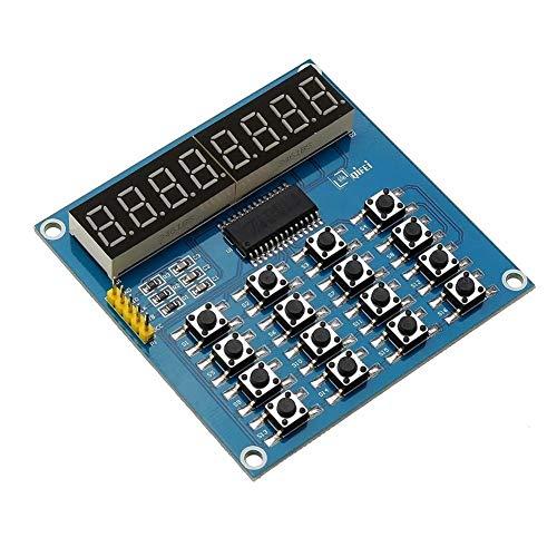 WUX698 TM1638 3-Wire 16 Tasten 8-Bit-Tastatur-Tasten-Anzeigemodul Digital Tube Board Scan und Schlüssel-LED for Arduino -