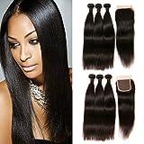 Daimer Straight Natural Weave 3 Paquets Tissage Cheveux Humains Péruvien en lot pas cher Naturel 10 12 14 inch