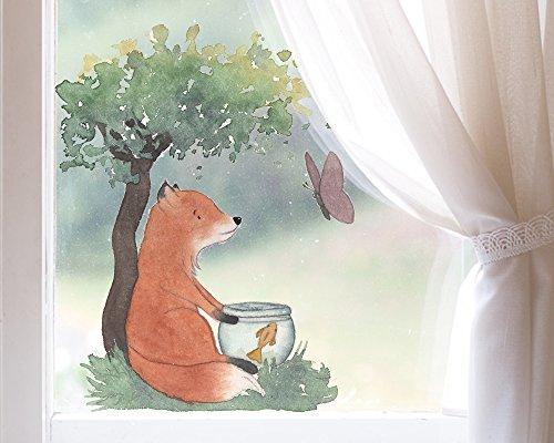 TinyFoxes Fensterbild Fuchs und Goldfisch für Das Kinderzimmer - Wiederverwendbar und Lichtdurchlässig