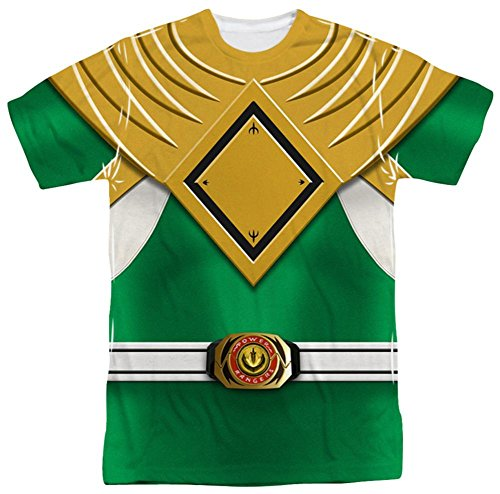 Power Rangers Mighty Morphin Green Ranger Herren Sublimationshemd Gr. XL, weiß