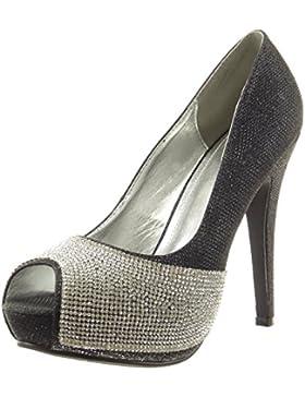 Sopily - Scarpe da Moda scarpe decollete alla caviglia donna strass paillette Tacco Stiletto tacco alto 12 CM...