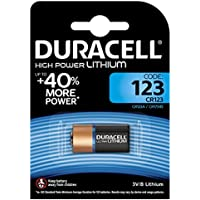 Pile lithium haute puissance Duracell 123 3V, pack de 1 (CR123 / CR123A / CR17345), conçue pour une utilisation dans les capteurs, verrous sans clé, flashs d'appareil photo et lampes de poche
