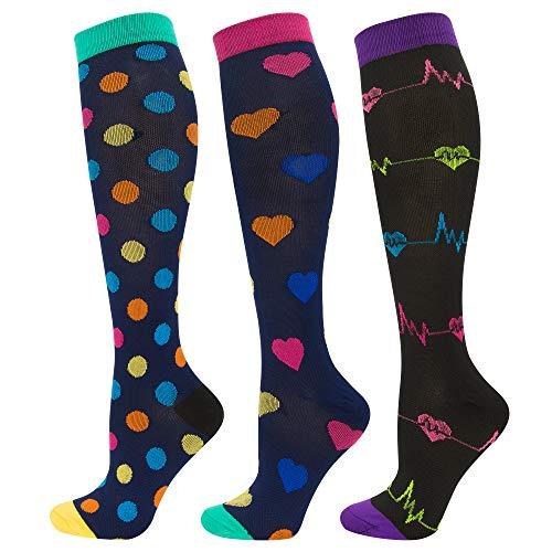 Durio Stützstrümpfe Damen Kniehohe Lustige Lange Socken Herren Bunt Stützkniestrümpfe Damen 3 Paare Punkte & Herzschlag & Bunte Herzen Schuhegröße 39-45