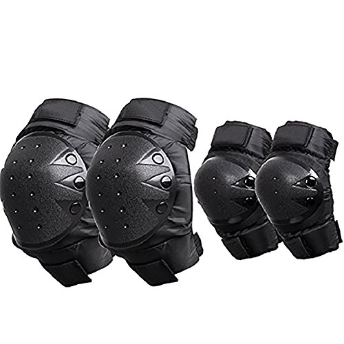 4pec Kit of Ellenbogen & Knie Sicherheit Pads für Outdoor Extreme Sports Racing Motorrad Motorradhelm Motocross Wachen Pads Set Skateboard Roller Blading ATV Off-Road-Rider schutzausrüstungen (Kit Pad Knie)