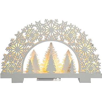 WeRChristmas Pre-Lit Snowflake Arch Table Christmas Decoration, Wood, 32 cm - White