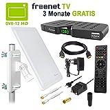 HB DIGITAL DVB-T/T2 Set: Skymaster DTR5000 DVB-T/T2 Receiver, Irdeto-Zugangssystem für freenet TV + Opticum AX800 DVB-T/T2 Aktive Antenne (Full HD HEVC/H.265 HDTV HDMI Ethernet USB DVBT DVBT2 DVB-T2)