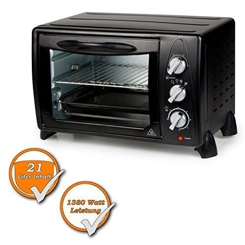 Miniofen mit Grill mit 21Liter Volumen, 1380Watt, zum Grillen, Braten und Roteiren, schwarz (Micro Ofen Mini)