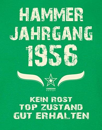 Modisches 61. Jahre Fun T-Shirt zum Männer-Geburtstag Hammer Jahrgang 1956 Ideale Geschenkidee zum Jubeltag Farbe: hellgrün Hellgrün