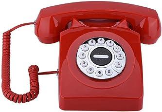 ASHATA Retro Telefon mit Wählscheibe, Vintage Antike Telefon Vintage Schnurgebundenes Analog-Telefon,Klassisch Multifunktion Home Telefon Festnetztelefon mit Wählscheibe Reserve 2 Farben(Rot)