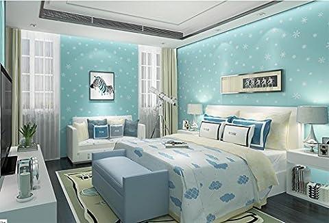 Bleu flocon salle autocollantes papier peint chambre salon non-tissé mur autocollants pour enfants 3D stéréoscopique auberge Wallpaper environnement