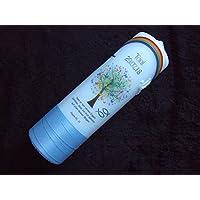 Taufkerze Lebensbaum mit Regenbogen 25x7cm – Taufkerzen Sonderanfertigung nach Kundenwunsch (Name/Datum/Taufspruch) Junge hellblau