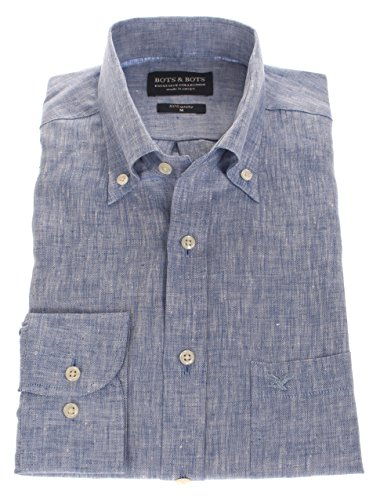 Bots & Bots 186004-M Herren Hemd - 100% Leinen - Button Down - Normal Fit (Leinen-button-down-shirt)