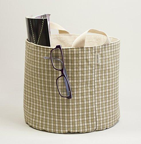 Leinwand Baumwoll-Gewebe Korb. Korb für Speicher. Stoff-Korb. Grün und weiß. Leinwand-speicher-körbe