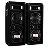 "PA Set Beatperformer I • Paar PA-Lautsprecher 2x16cm (6,5"") 1200 W • Skytec SPL 1000 Amplifier Verstärker • 10 m Lautsprecherkabel • transporttauglich • Bassreflex-Bauweise • LED-Lichteffekt • schwarz"