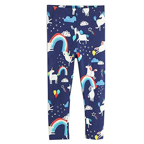 Ohbabyka Girl Stretch Printed Leggings, Kids Print Designs Full Ankle Length Pants (7T, GDK112-22) -