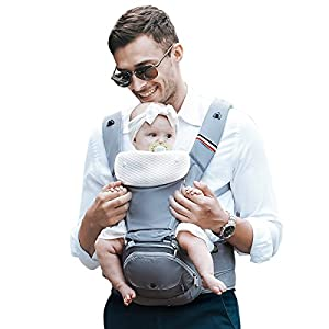 Bebamour Baby Carrier Hip Seat 6 in 1 Clasical Baby Carrier Backpack 0-36 Months with 3PCS Baby Drool Bibs, Convertible Baby Carrier (Noble Grey) CUBY Durable Weight Baby Sling:Designed to carry babies who are 0 to 36 months old and weighing no more than 44 pounds. Five Different Carrying Positions: Including two perfect and convenient for breastfeeding. Cuby's baby carrier allows you to carry your baby in the same position they used in the womb, gives your baby a familiar sense of security and makes it easy for you to enjoy eye contact to bond with your new bundle of joy. Premium Cotton: The baby carrier by Cuby is made of 100% high quality cotton. It is soft, skin-friendly and breathable. 8