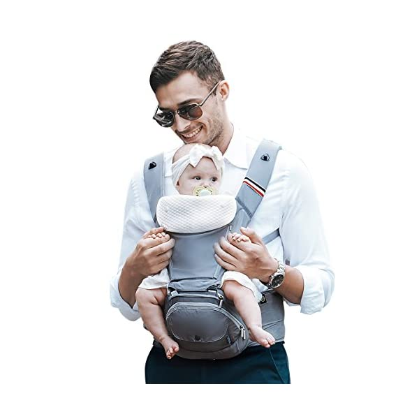 """Bebamour Baby Carrier Hip Seat 6 in 1 Clasical Baby Carrier Backpack 0-36 Months with 3PCS Baby Drool Bibs, Convertible Baby Carrier (Noble Grey) bebear SPORTY CHIC - The baby carrier is used soft classical cotton with polyester touching. The breathable effective is more than 76% which is better than ordinary cotton. Baby will feel best comfort and soft in it. C+M DESIGNED - Ergonomic baby carrier is all parents' pursue. The hip seat is designed according to baby's develoment. Size: L9.8""""*H11.8""""*W7""""(L25*H30*W18CM); Weight is about 1.82 lbs(0.83KG). The upper part can be detached to be a single seat. You can put baby in 3 ways, horizontal, face-forward and face-inward. GOLDEN RATIO - Best comfort for baby who is from 0-36months and whose weight is about 0-33 lbs (0-14.9KG). Baby can be carried in another 3 ways by face-forward, face-inward and backpack position. 1"""