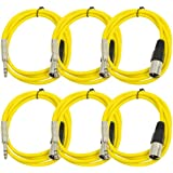 "Seismic Audio Seismic 6 Pack Yellow 1/4"" TRS XLR Male 6' Patch Cables Yellow - SATRXL-M6Yellow6"