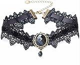 EROSPA® Gothic-Halsband Kette mit Brosche mit Anhänger Schmuckstein Häkelspitze Steampunk Retro Burlesque Necklace 5 Farben Trachtenschmuck Dirndl (Schwarz)